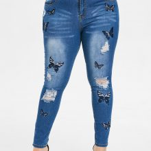 Women's Ripped Butterfly Embroidered Jeans