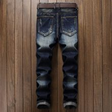Men's Pleated Washed Biker Jeans